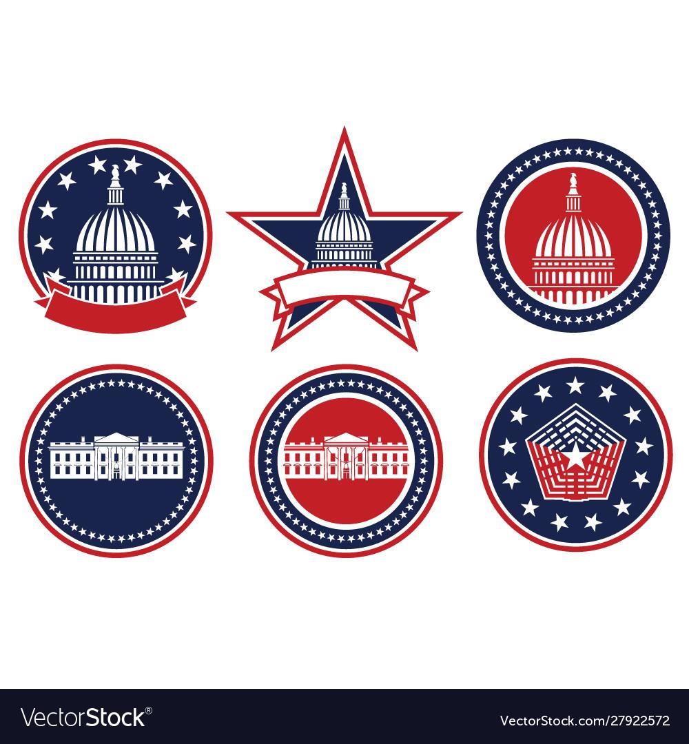 American patriotic logo set