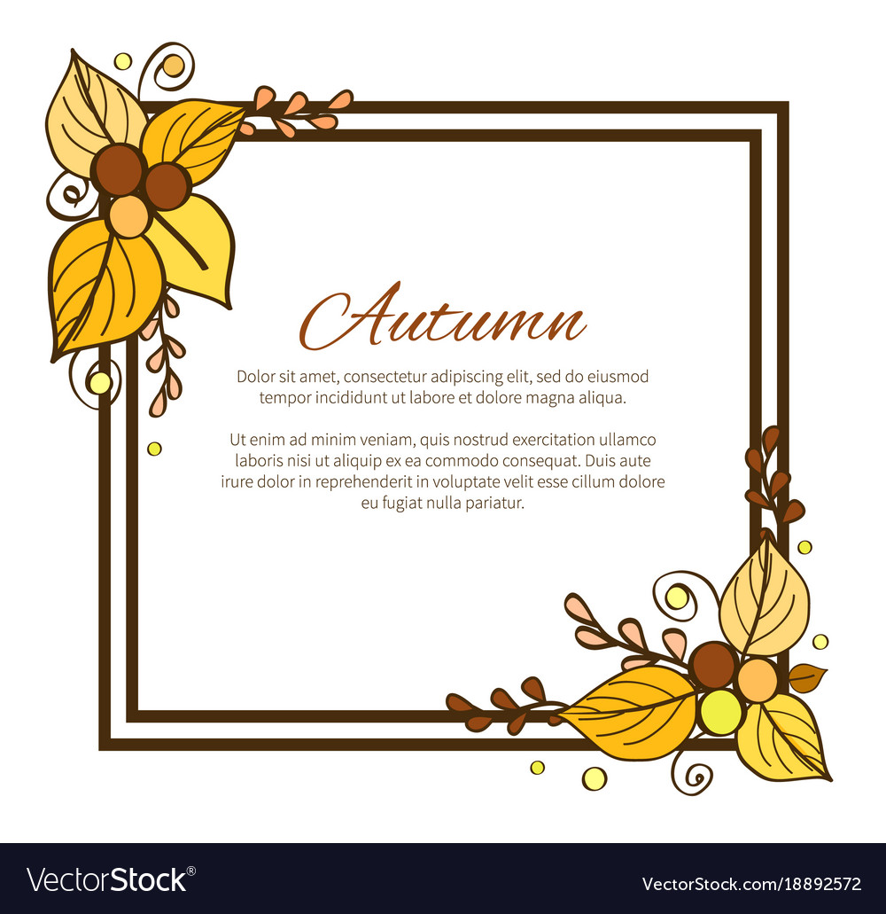 Autumn frame and leaves on