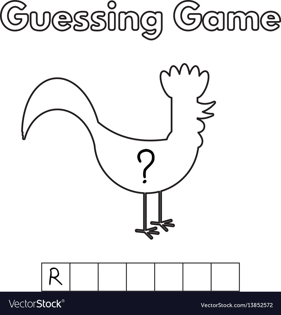 Cartoon rooster guessing game vector image