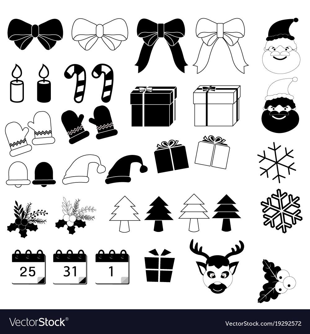 Christmas icons set on white background