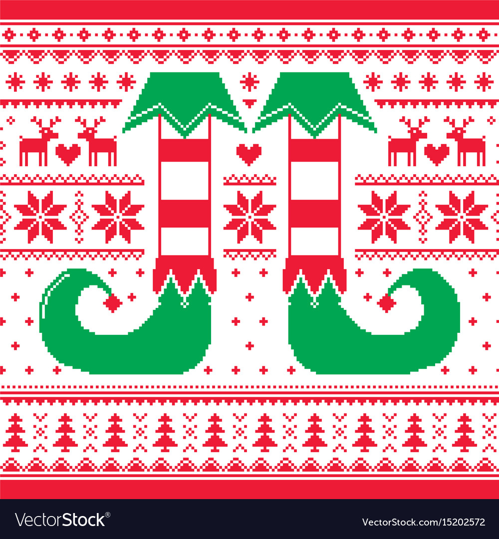 Christmas seamless pattern with elf and reindeer vector image
