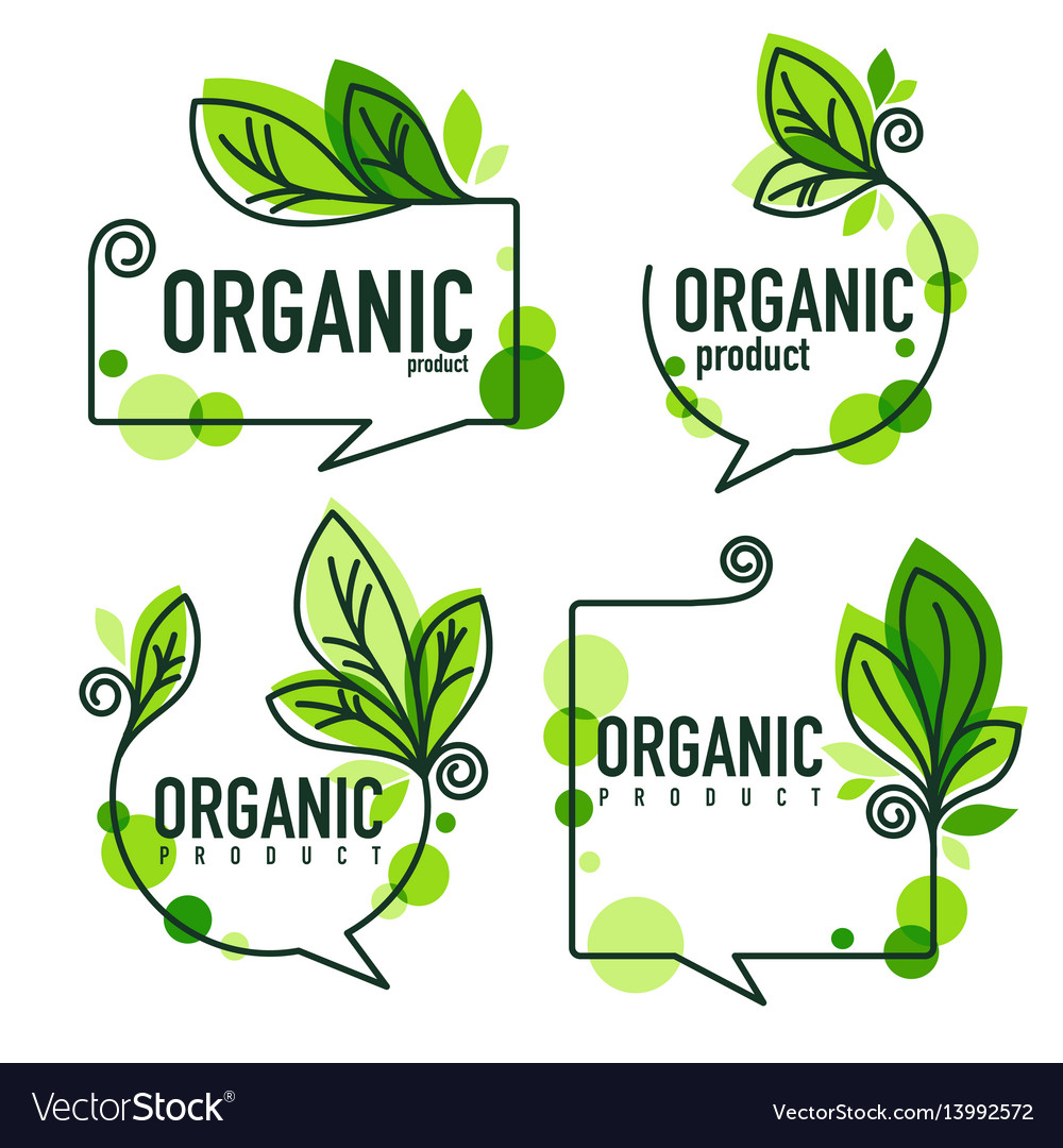 Collection of doodle organic leaves emblems