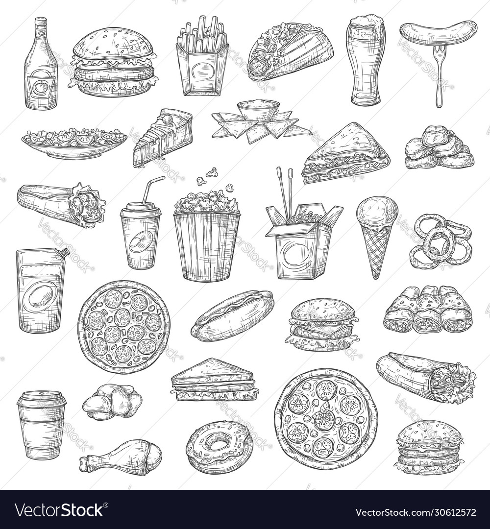 Fast food burgers drinks and desserts
