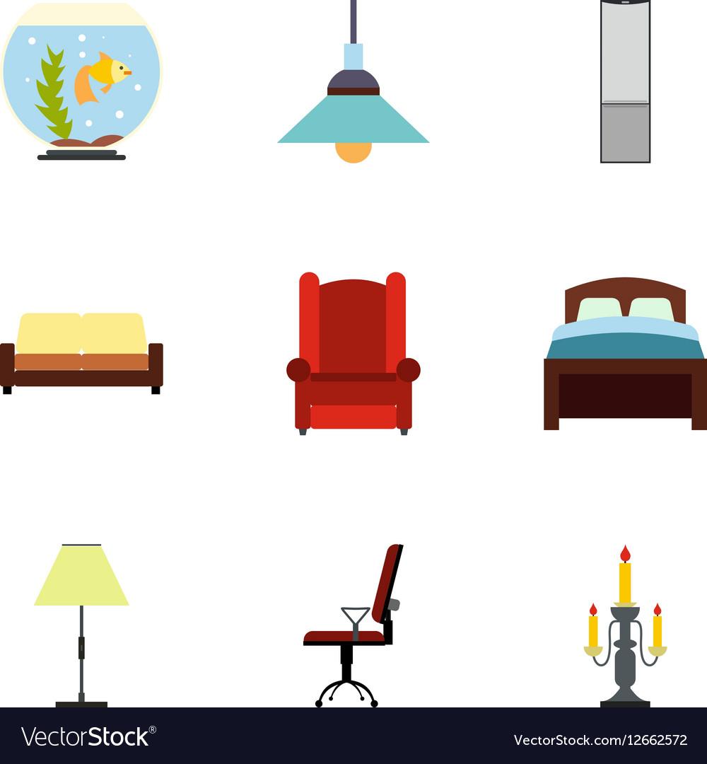 Home furnishings icons set flat style