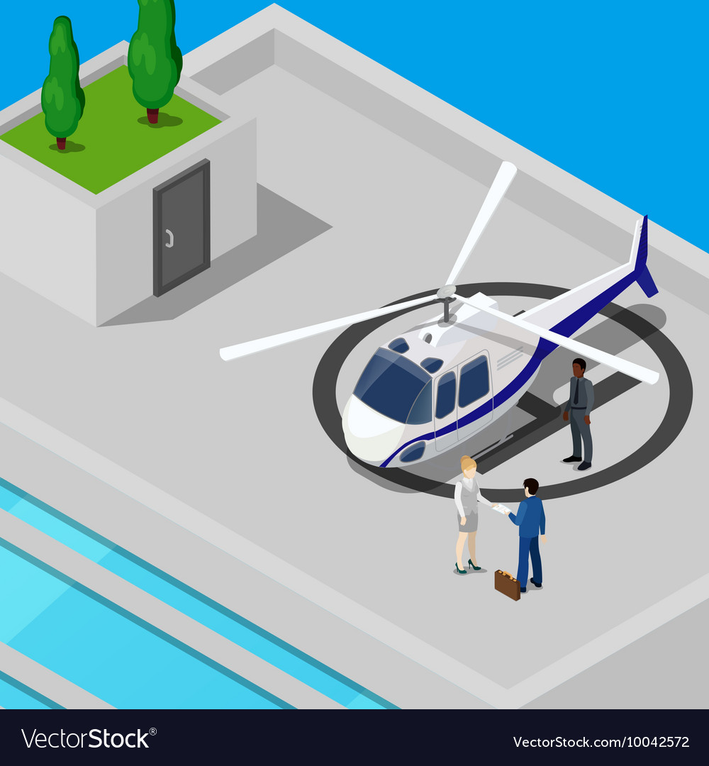 Isometric Helicopter with Business People