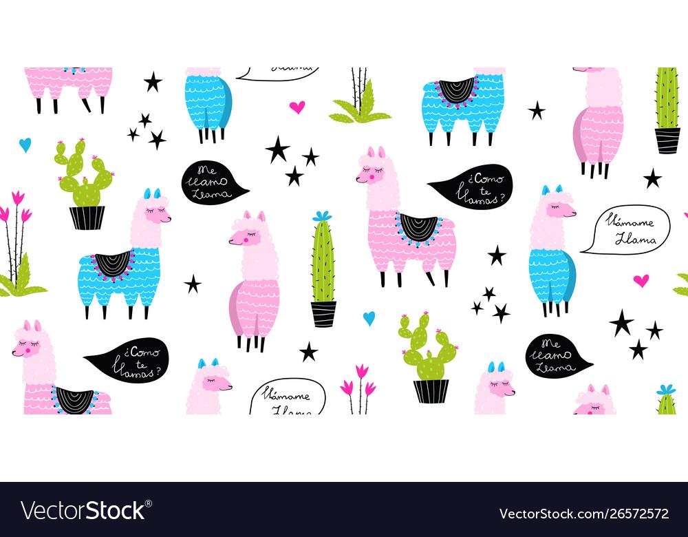 Lamas and cacti funny animals seamless