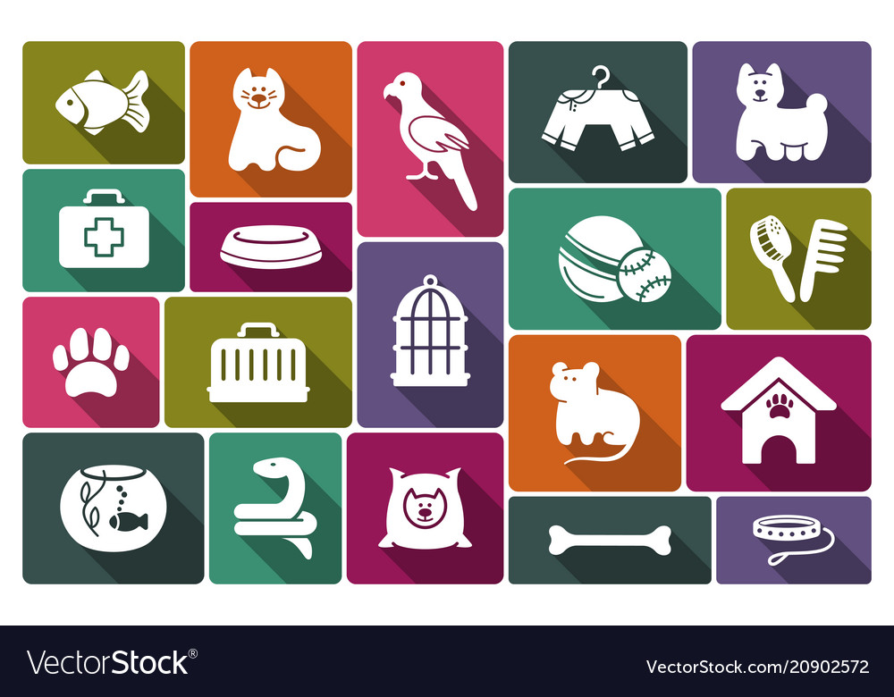 Pets care icon set