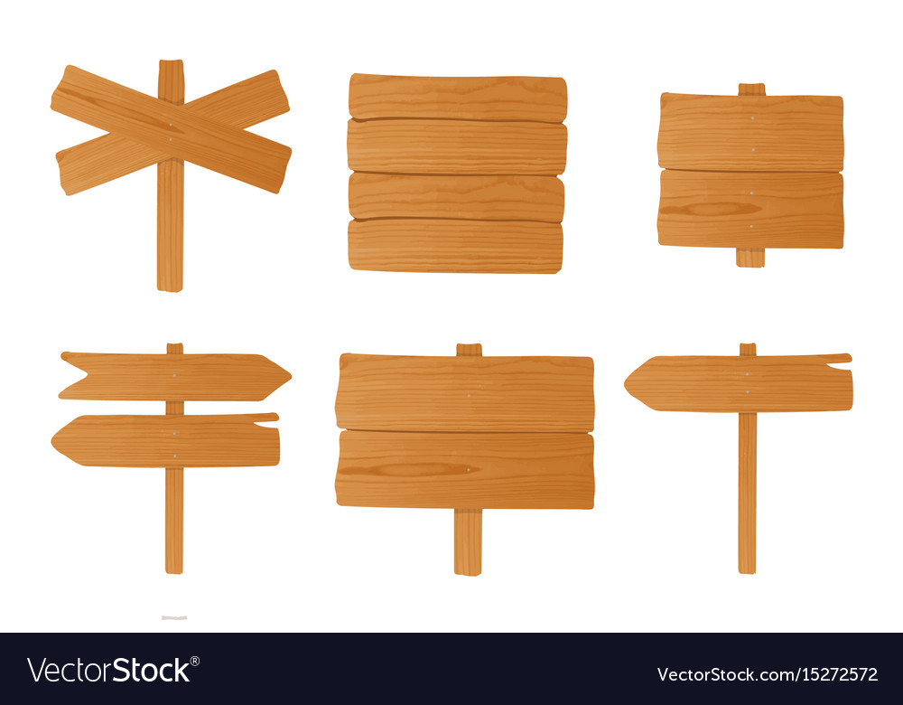 Set of different wooden signboards pointers