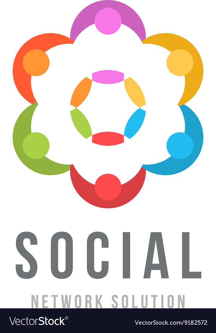 Social network concept Logo design template