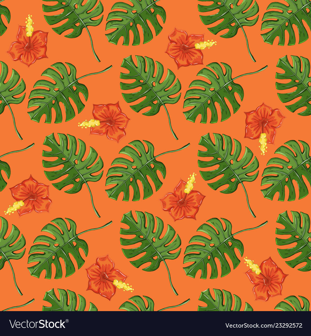 Tropical pattern with monstera plants and flowers