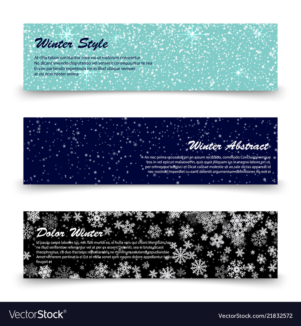 Winter banners template set with snow shine