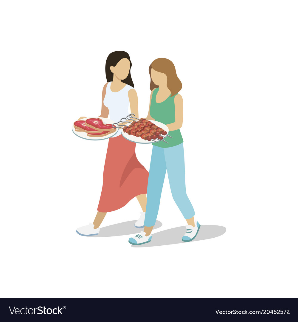 Women walking with barbecued meat