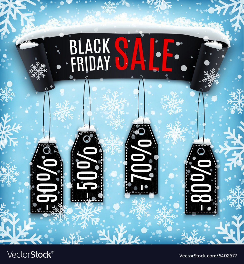Black Friday sale background with black ribbon vector image