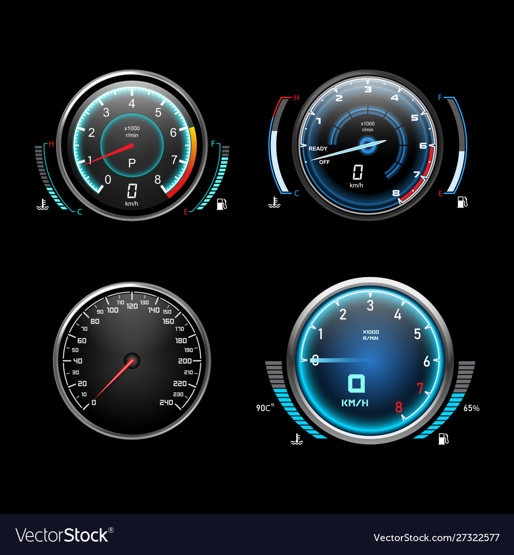 Car dashboard speedometer tachometer and fuel