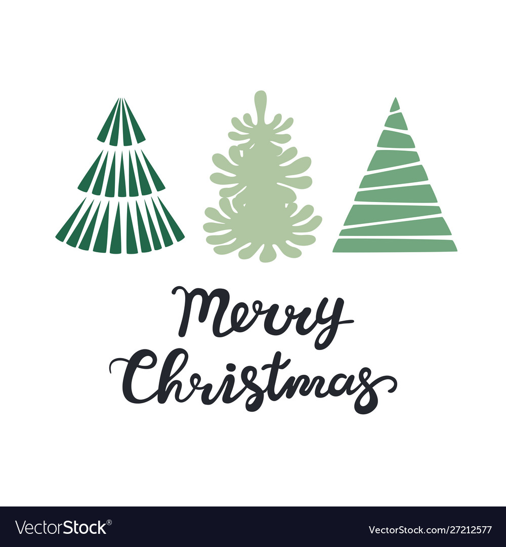 Christmas greeting card with trees merry