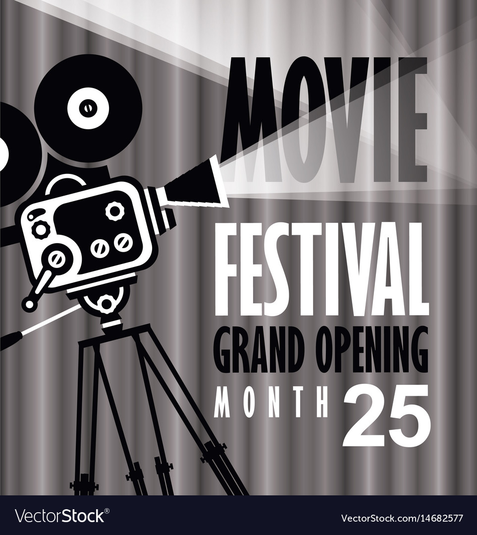 Movie festival poster with old fashioned camera