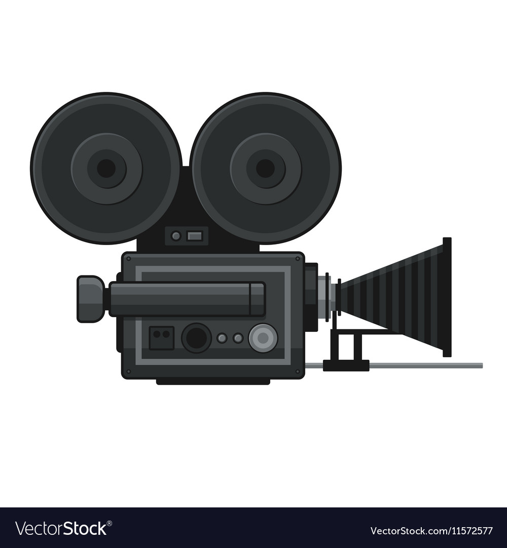 Retro Movie Video Camera Icon on White Background