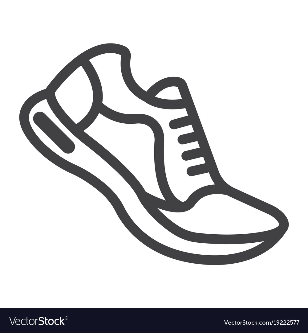 Running shoes line icon fitness and sport