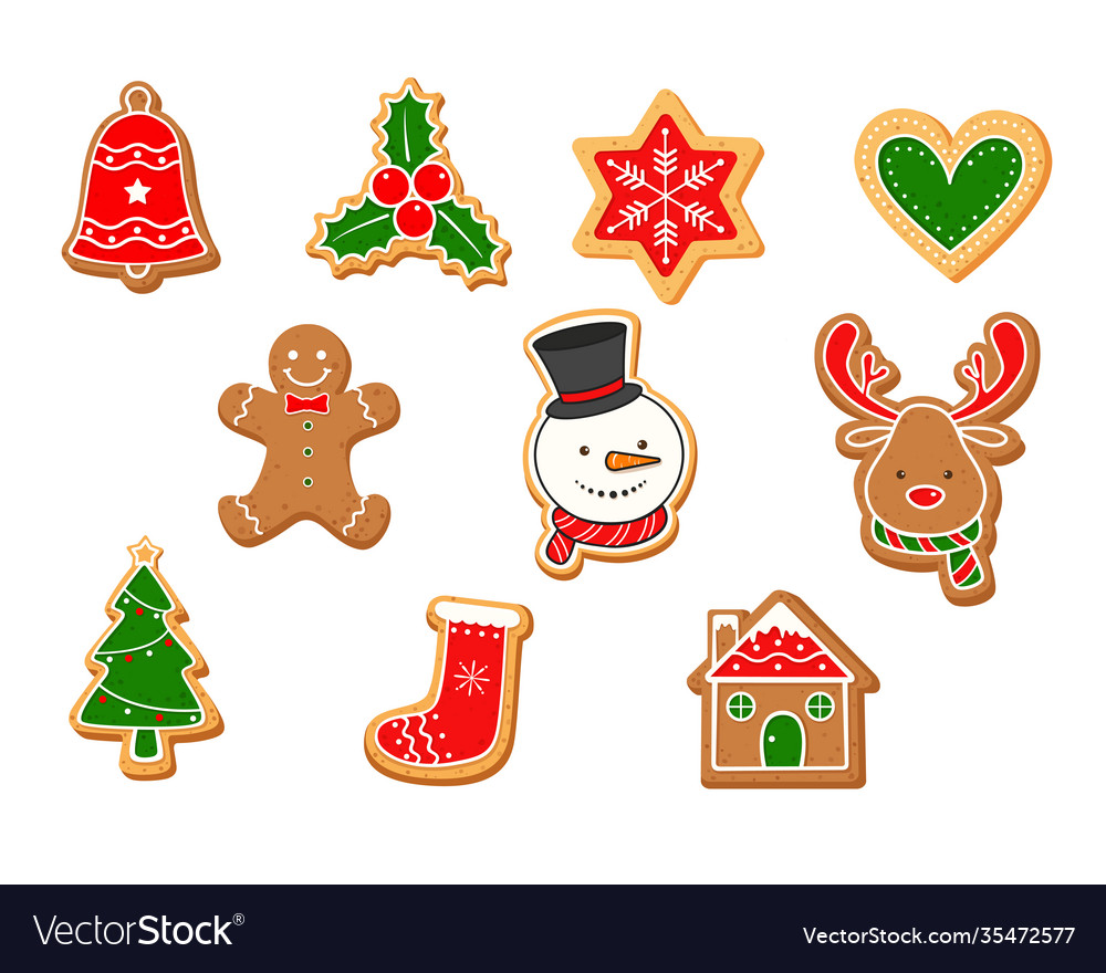 Set christmas gingerbreads