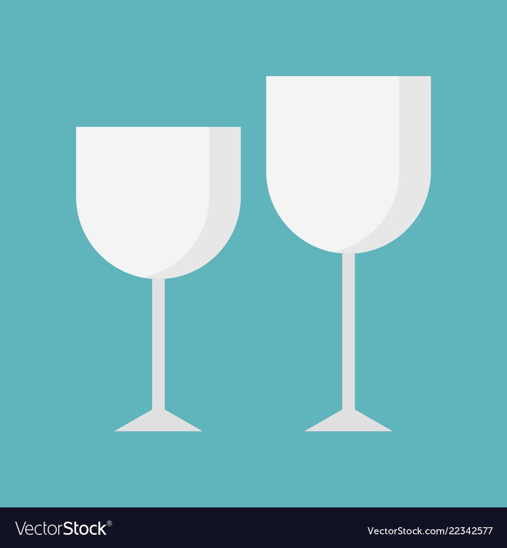 Set of wine glasses icon kitchen utensil flat