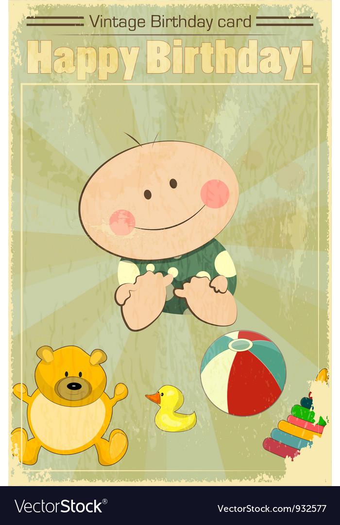Vintage Baby Birthday Card vector image