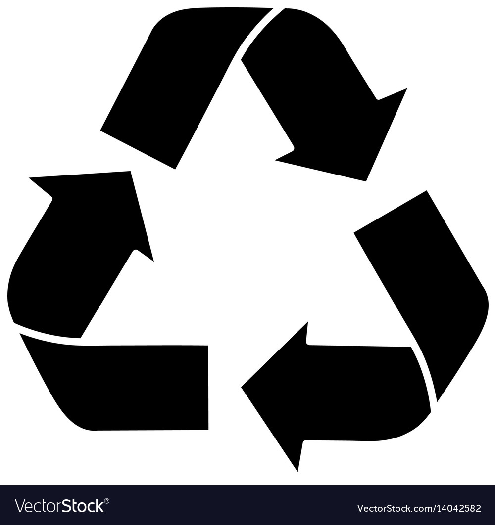 black silhouette recycling symbol with arrows vector image