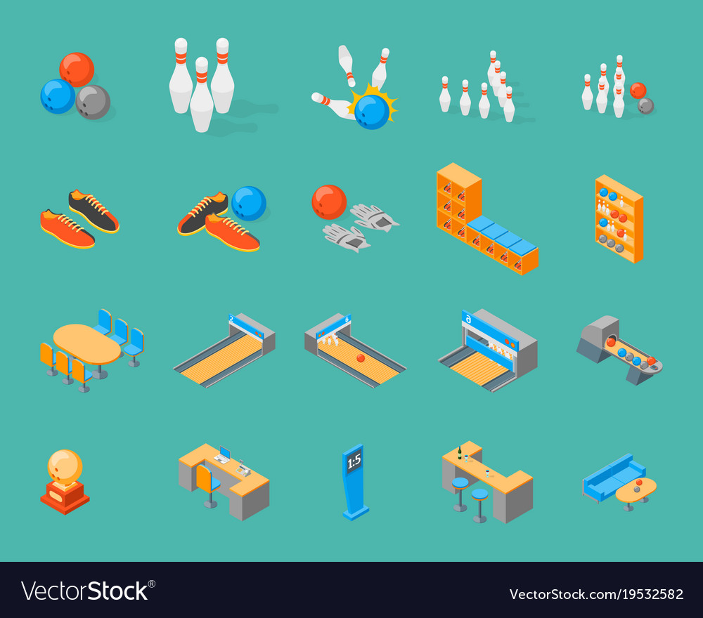 Bowling game icons set isometric view