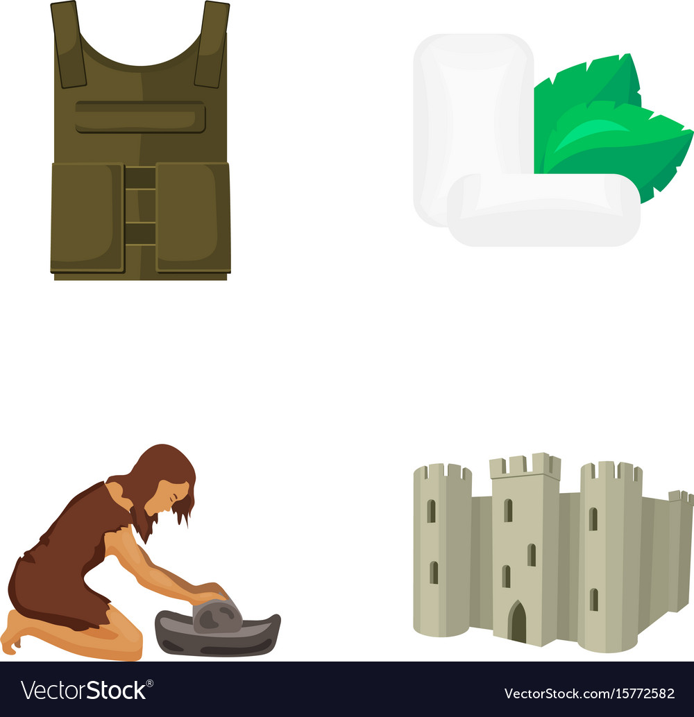 Bulletproof vest chewing gum and other web icon vector image