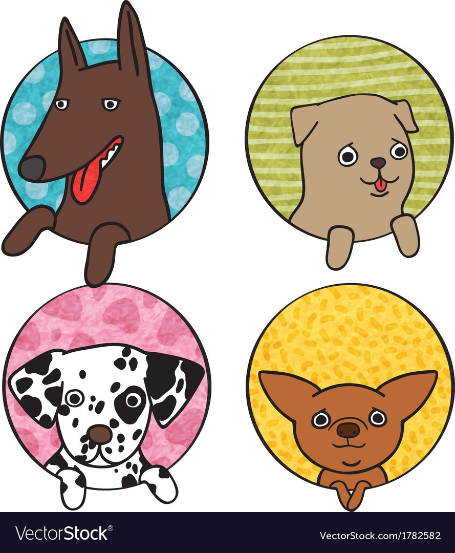 Cute dogs icon set