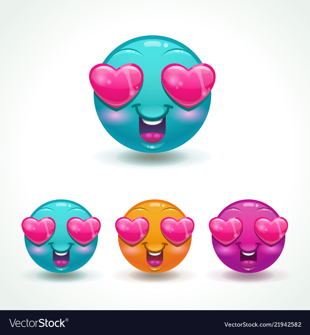 Funny cartoon emoji character face in love