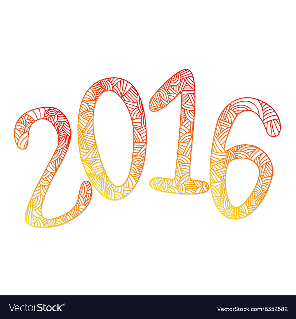 Happy new 2016 year Letters with doodle abstract