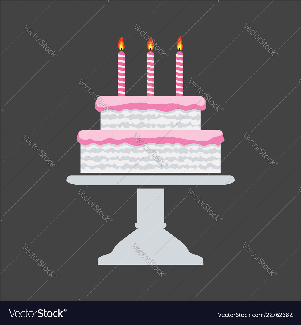 Icon pink birthday cake on a stand