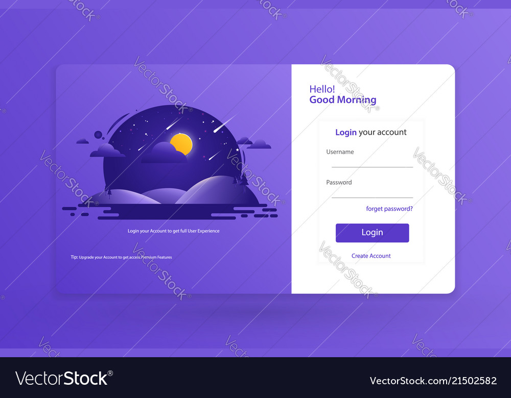 Login form landing page design template concept