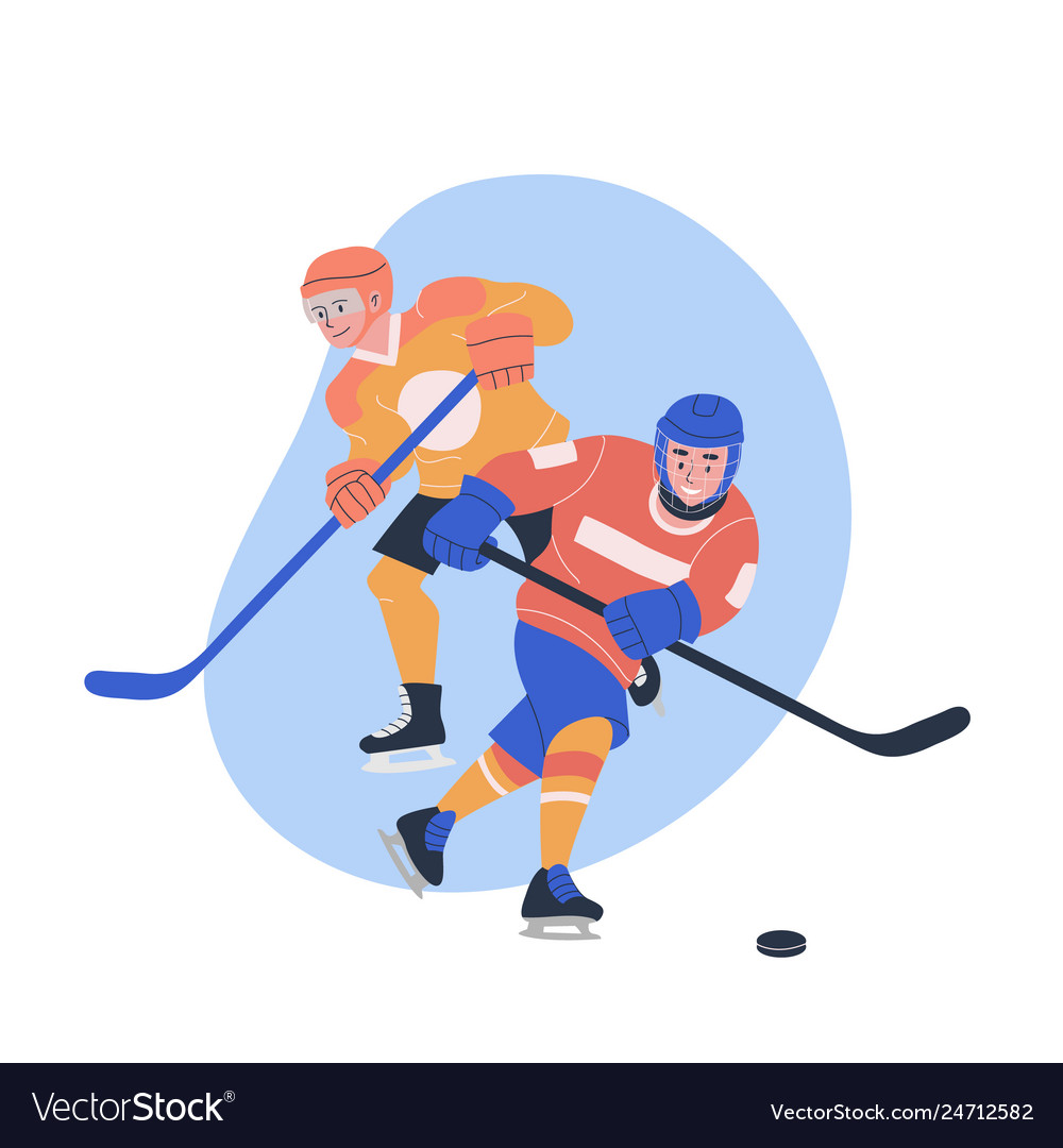 Male Teenagers Playing Ice Hockey Game Royalty Free Vector