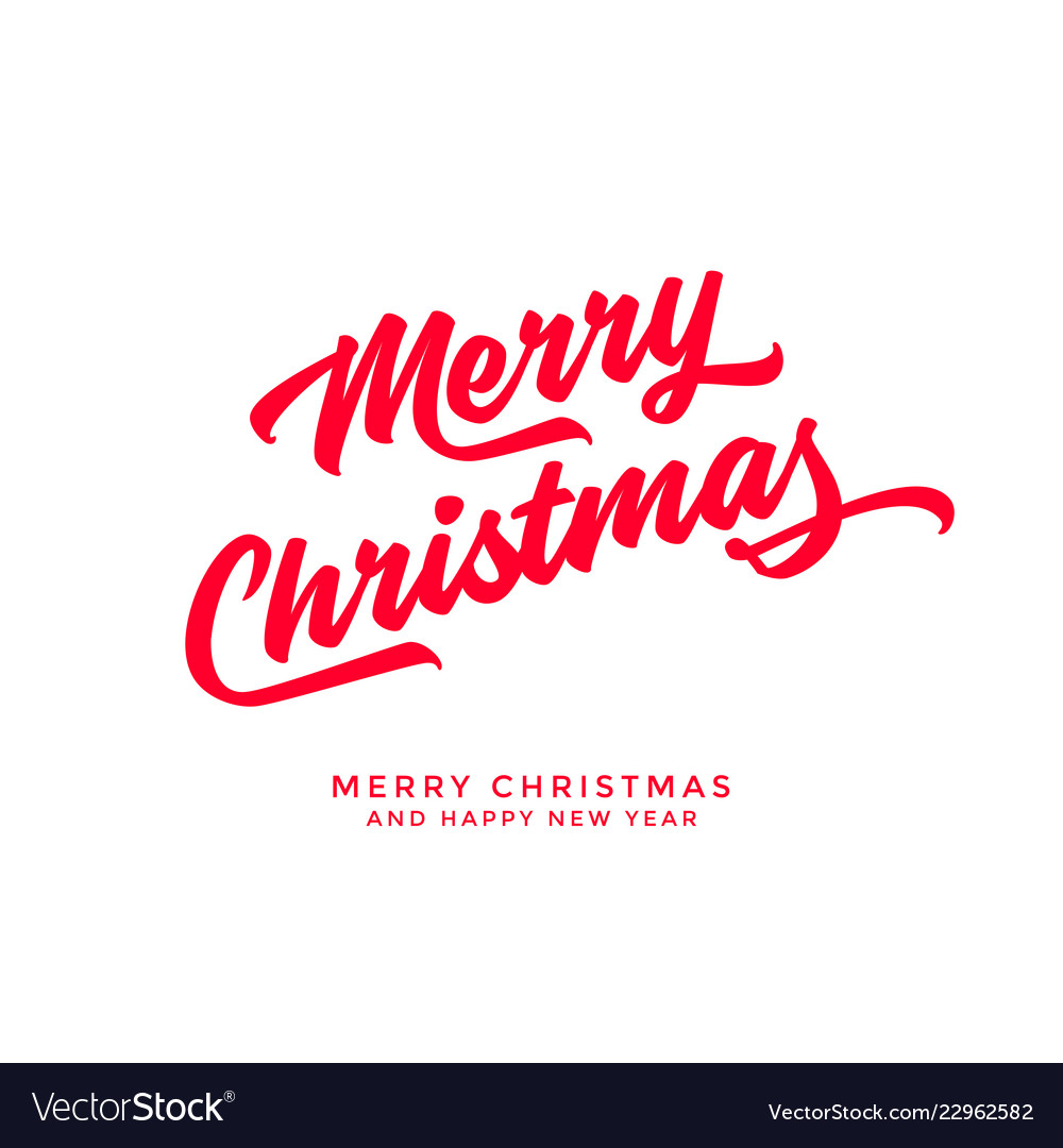 Merry christmas text calligraphic lettering design