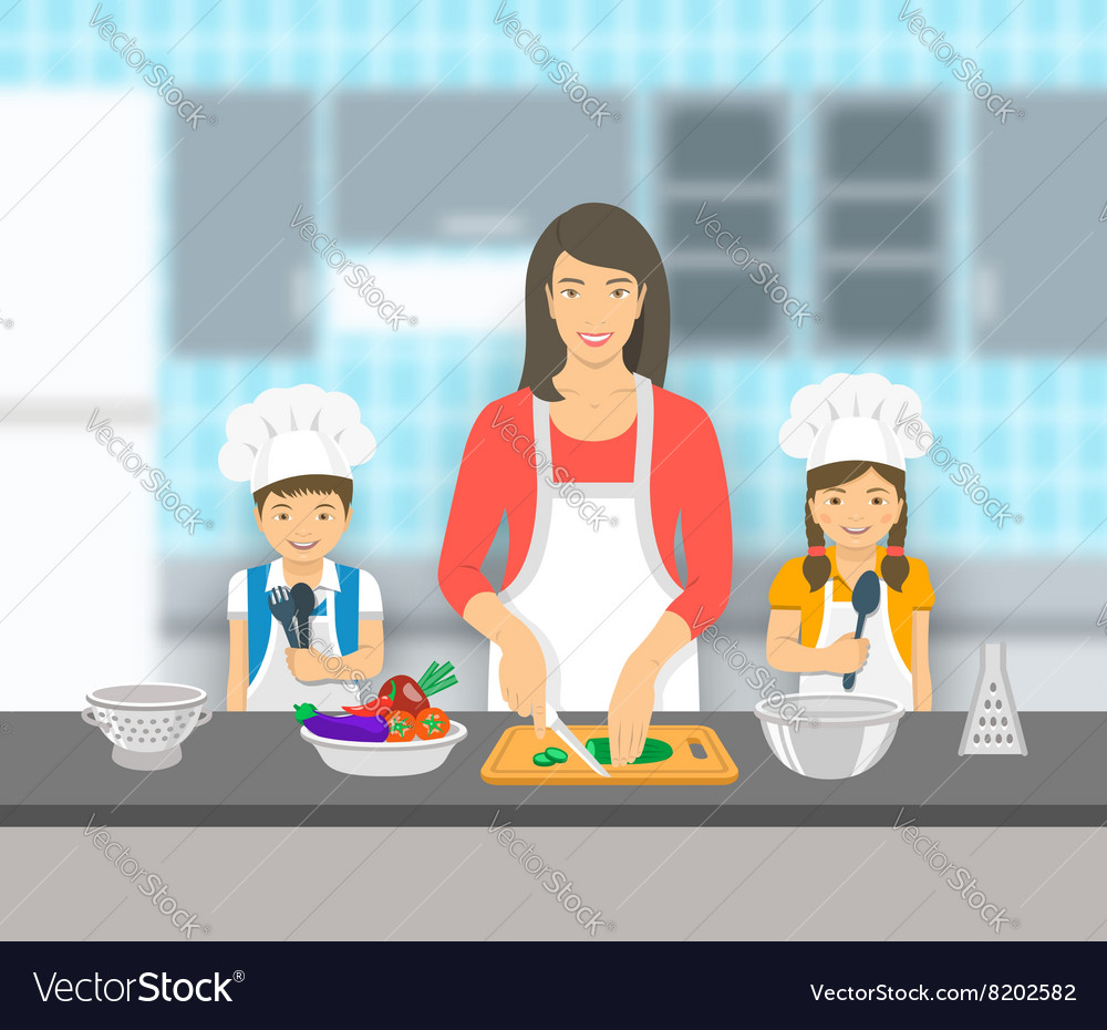 Mother and kids cooking together at kitchen flat vector image