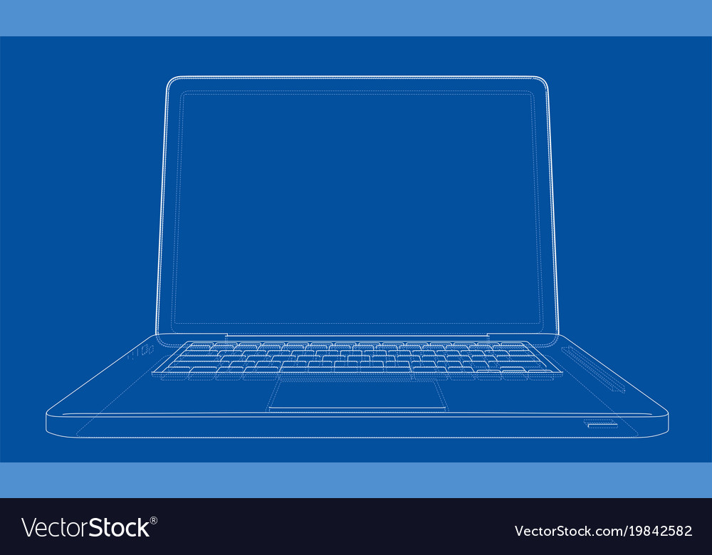 Outline drawing laptop