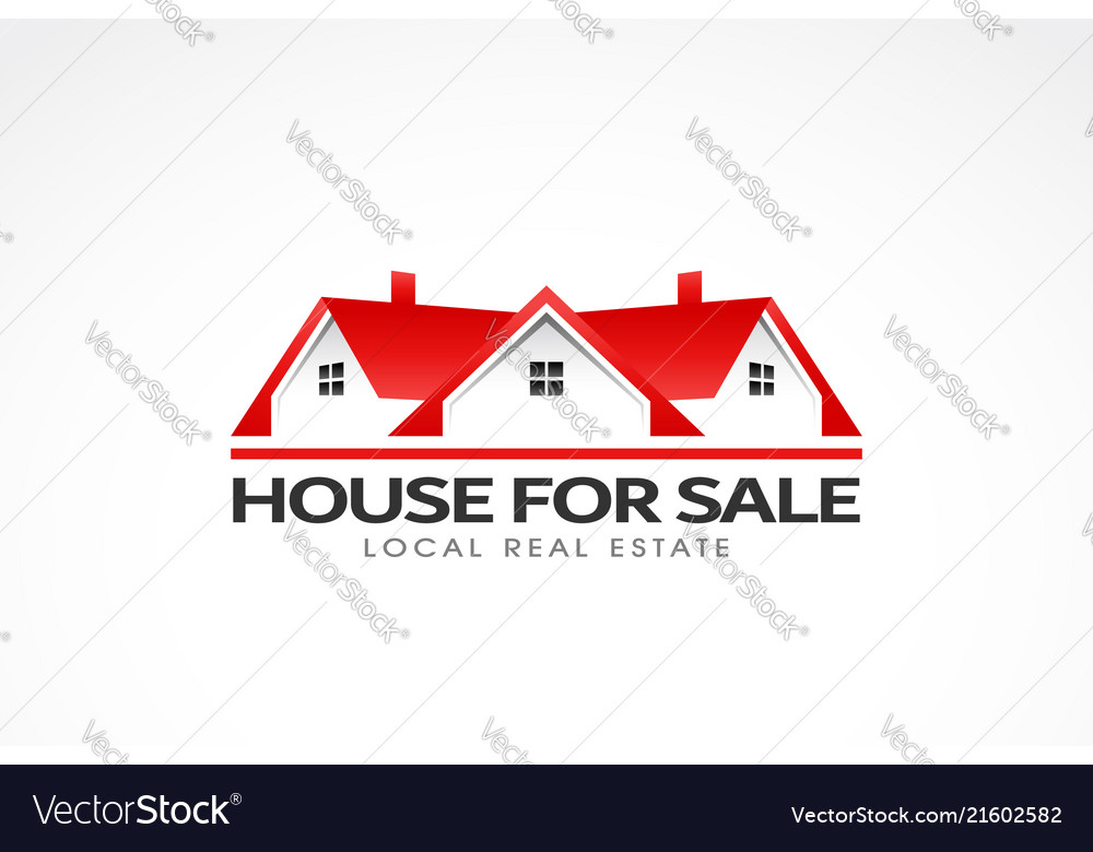 Real estate red houses logo