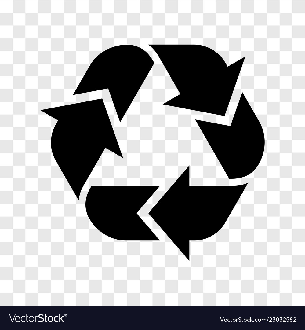 Recycle logo icon recycled black sign isolated on