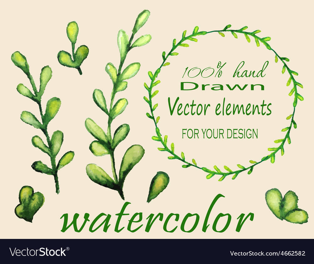 Set of watercolor branches