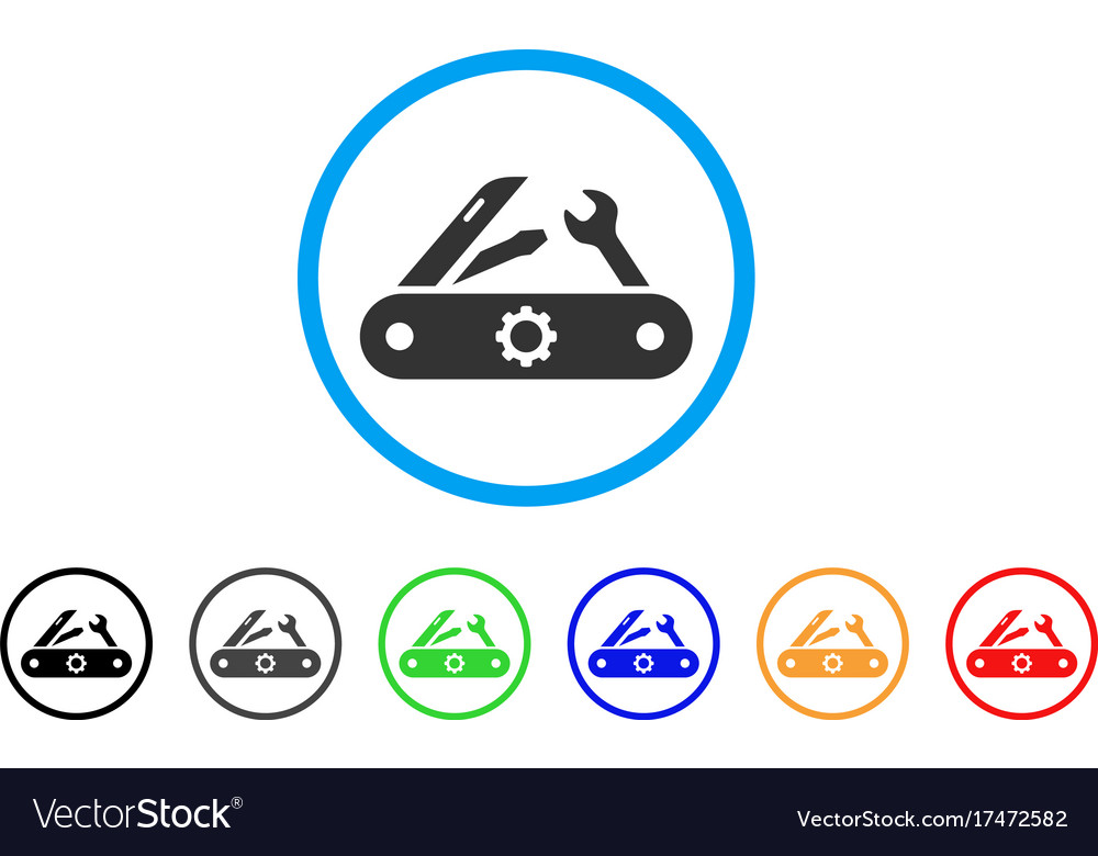 Swiss knife rounded icon vector image