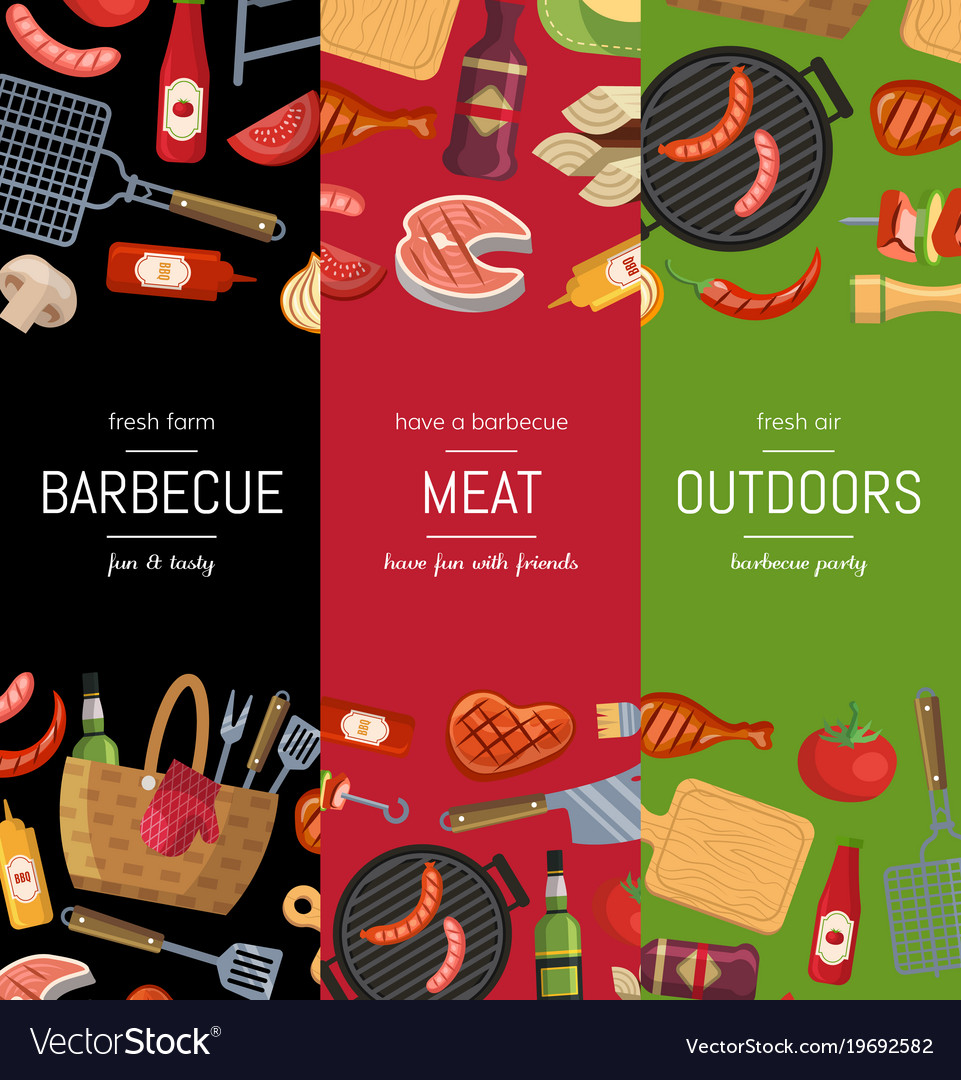 Vertical banner templates for barbecue or