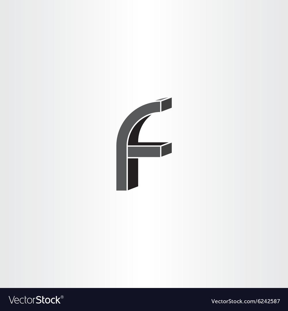 3d black letter f icon