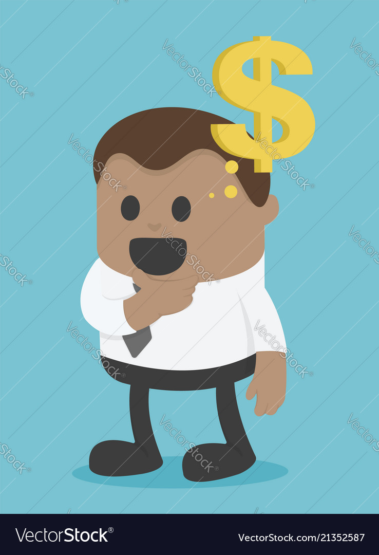 African businessman think about money