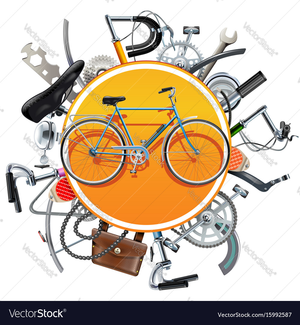 Bicycle spares concept with bike vector image