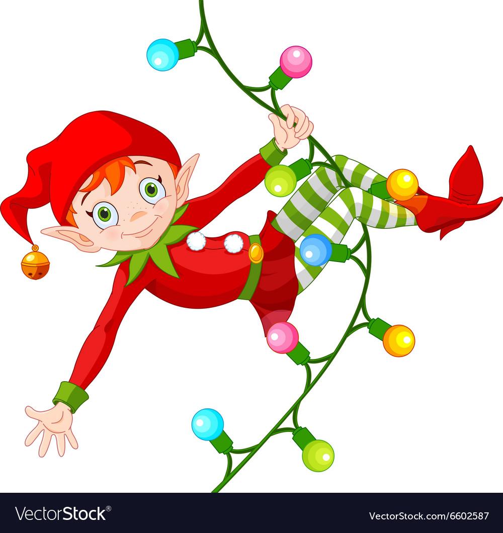 Christmas Elf on Garland vector image