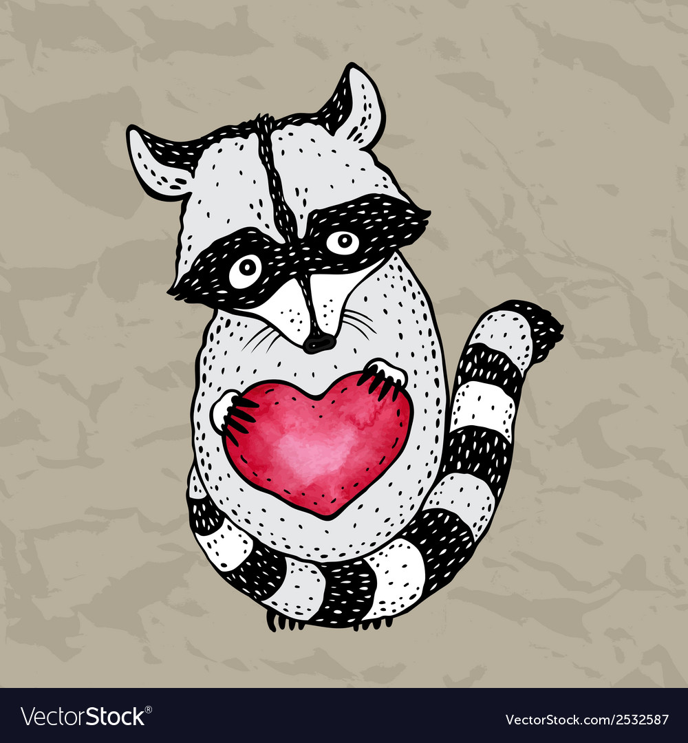 Cute raccoon with heart in hands
