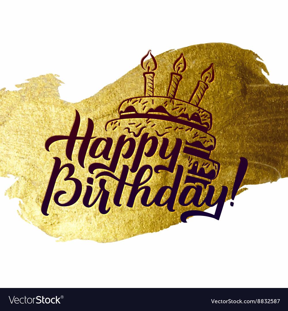 Happy Birthday Greeting Card Gold Calligraphic