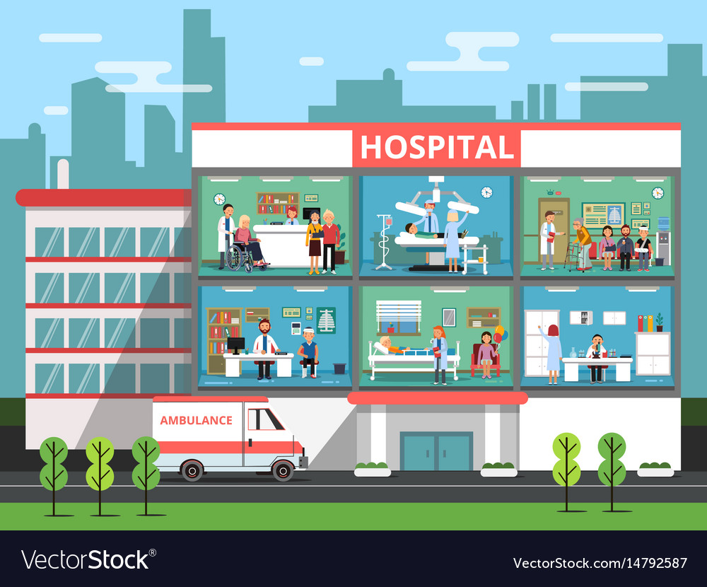 Hospital rooms with medical personnels doctors vector image