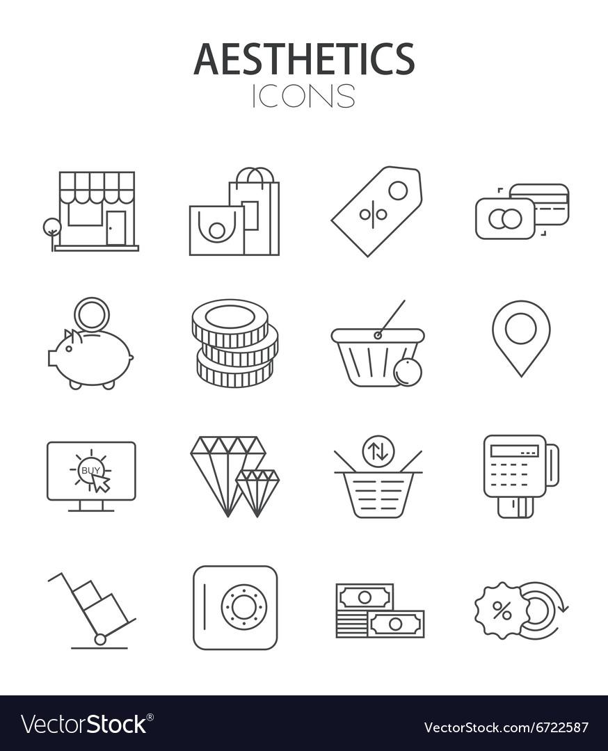 Modern thin line flat design of icons set
